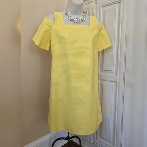 J Crew Yellow Cold Shoulder Shift Dress - Small